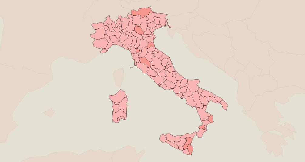 Coronavirus in Italia, i dati e la mappa